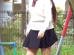 Japanese teen urinates outdoors