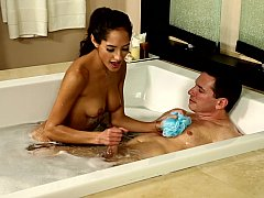 Hot bath with alluring young...