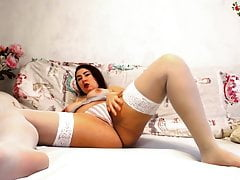 Cute Bitch In White Stockings...