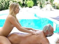 Babe sucks grandpa