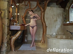 Hot blondie Churikova enjoying...