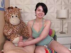 Innocent-looking teen handjob