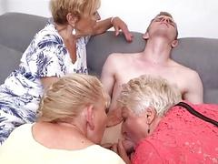 Grannies having group sex with...