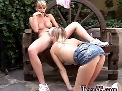 Two ash-blonde youthfull lesbos...