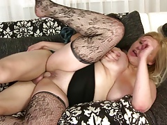 Posh busty MOM fucks her young...