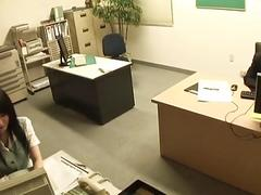 Office babe in stockings gets...
