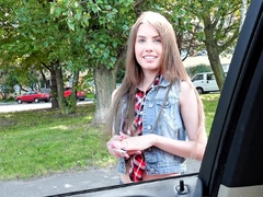 Cutie asks dude for a ride in...