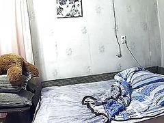 Hidden filmed, girl on the bed