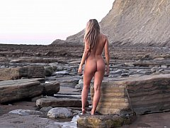 Nude babe morning walk at the...
