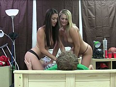 Two horny college girls share a...