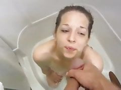 Cute Babe swallows Piss and Sperm