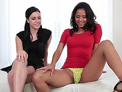 Lesbian foreplay and double BJ