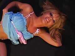 Cute blonde in light blue outfit...