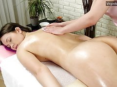 Adelyn Abbe gets massaged for...