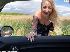 Blonde hitchhikes for sex and...