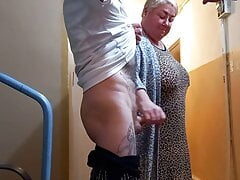 a woman jerks off my cock in the...