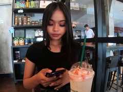 xhamster Starbucks coffee date with Asian...