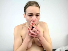 Small titted babe toys her pussy...