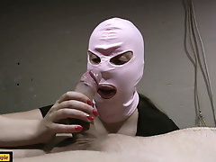 Masked girl giving blowjob, but...