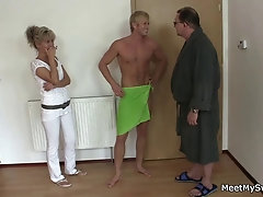 Old mom and dad trick blonde...