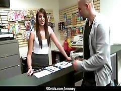 Slutty amateur babe is paid cash...