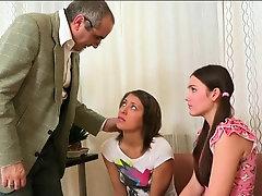 Elderly teacher is delighting...
