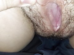 Showing my big hairy wet pussy